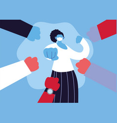 Poster woman with medical face mask fighting vector