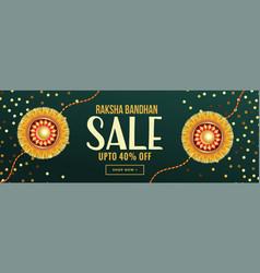 Raksha bandhan sale banner with golden rakhi vector