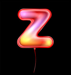 Red metallic balloon inflated alphabet symbol z vector