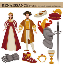 Renaissance century european old retro fashion vector