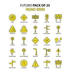 road sign icon set yellow futuro latest design vector image