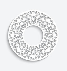 round frame with cutout paper border pattern vector image