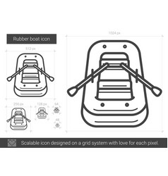 Rubber boat line icon vector