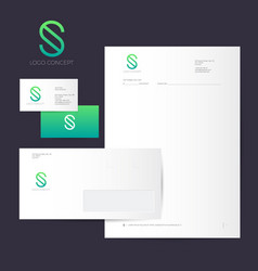 s logo identity green line style vector image