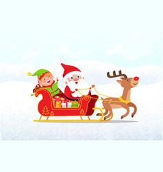 santa elf riding on sleigh drawn deer vector image