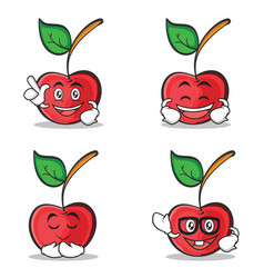 set of cherry character cartoon style vector image vector image