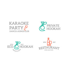 set of retro vintage night club karaoke disco vector image vector image