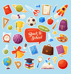 set school items stickers cartoon objects and vector image