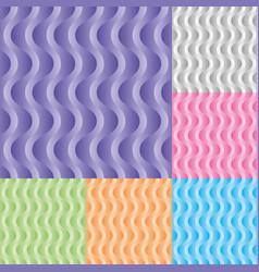 Set vertical wavy stream seamless pattern vector