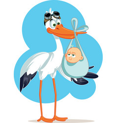 stork carrying a cute baby boy in a bag vector image