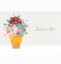 Summer scene with ice cream cone sundae with vector