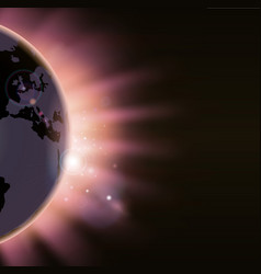Sun rays burst over the globe vector