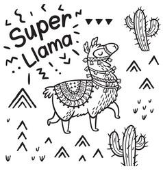 super llama ink cartoon llama print vector image
