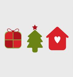 Thee icons symbols christmas season vector