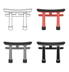 Torii icon in cartoon style isolated on white vector