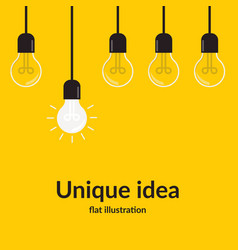 unique idea bright idea and insight concept with vector image