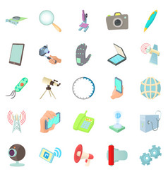 Updated technology icons set cartoon style vector