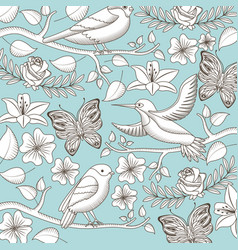 vintage romantic pattern birds vector image