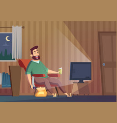watching tv fat lazy unhealthy man sitting on vector image
