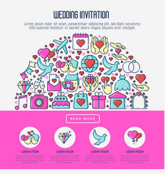 wedding invitation concept with thin line icons vector image