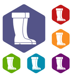 winter shoes icons set vector image
