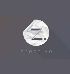 z letter logo with crumpled and torn wrapping vector image