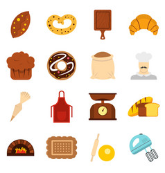 bakery set flat icons vector image