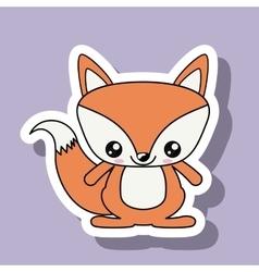 fox character kawaii style isolated icon design vector image