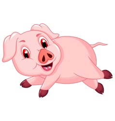 funny pig cartoon running vector image