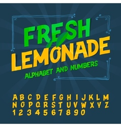Alphabet and numbers - Fresh lemonade vector image vector image