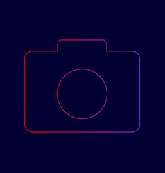 digital camera sign line icon with vector image