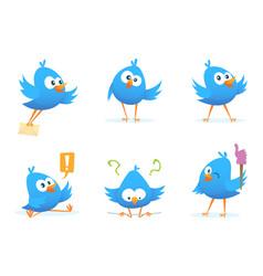flying blue birds in cartoon style vector image