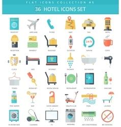 Hotel color flat icon set elegant style vector