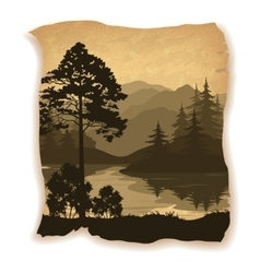 Landscape Trees River and Mountains vector image