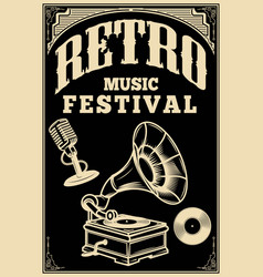 Retro music festival poster template vintage vector