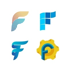 Letter F logo set Color icon templates design vector image vector image