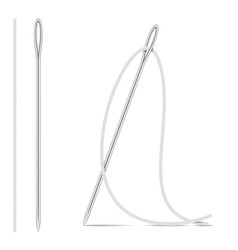 Needle And Thread Isolated On White vector image
