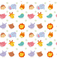 seamless pattern cute wild animal vector image