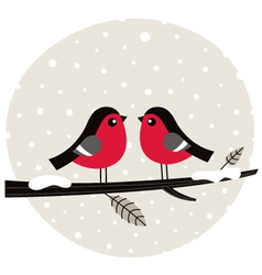 Winter birds sitting on the branch vector image vector image