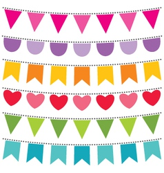 bunting flags set vector image vector image
