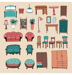 Furniture and home accessories icons set vector