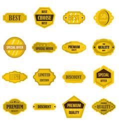 golden labels set flat icons vector image
