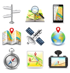 Maps and navigation icons set vector image vector image
