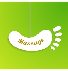 Massage sign and logo Isolated foot board hanging vector image