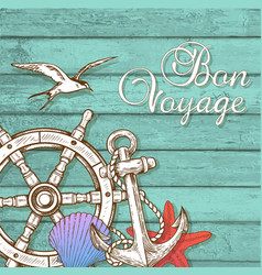 travel background with hand wheel and anchor vector image vector image