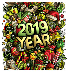2019 hand drawn doodles new year vector image