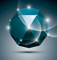 3D blue shiny sphere fractal dazzling abstract vector