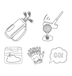 a ball with a golf club a bag with sticks gloves vector image