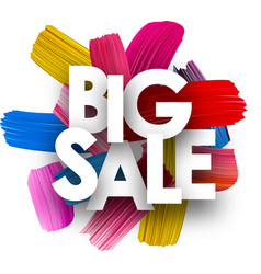 big sale poster with brush strokes vector image