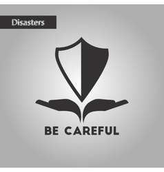 Black and white style nature careful hand shield vector